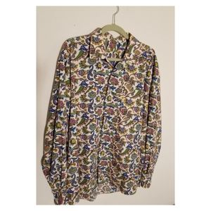 XXL Abstract Paisley and Flower Print Button Up